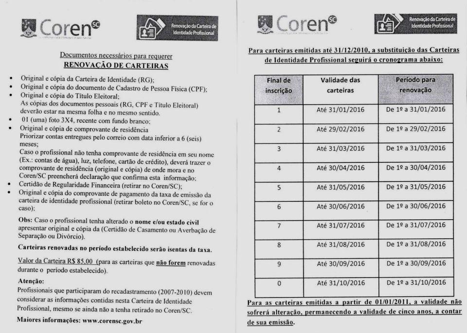 f535387a2e SITESSCH - Notícias - ATENÇÃO - ORIENTAÇÕES PARA RENOVAÇÃO CARTEIRA COREN